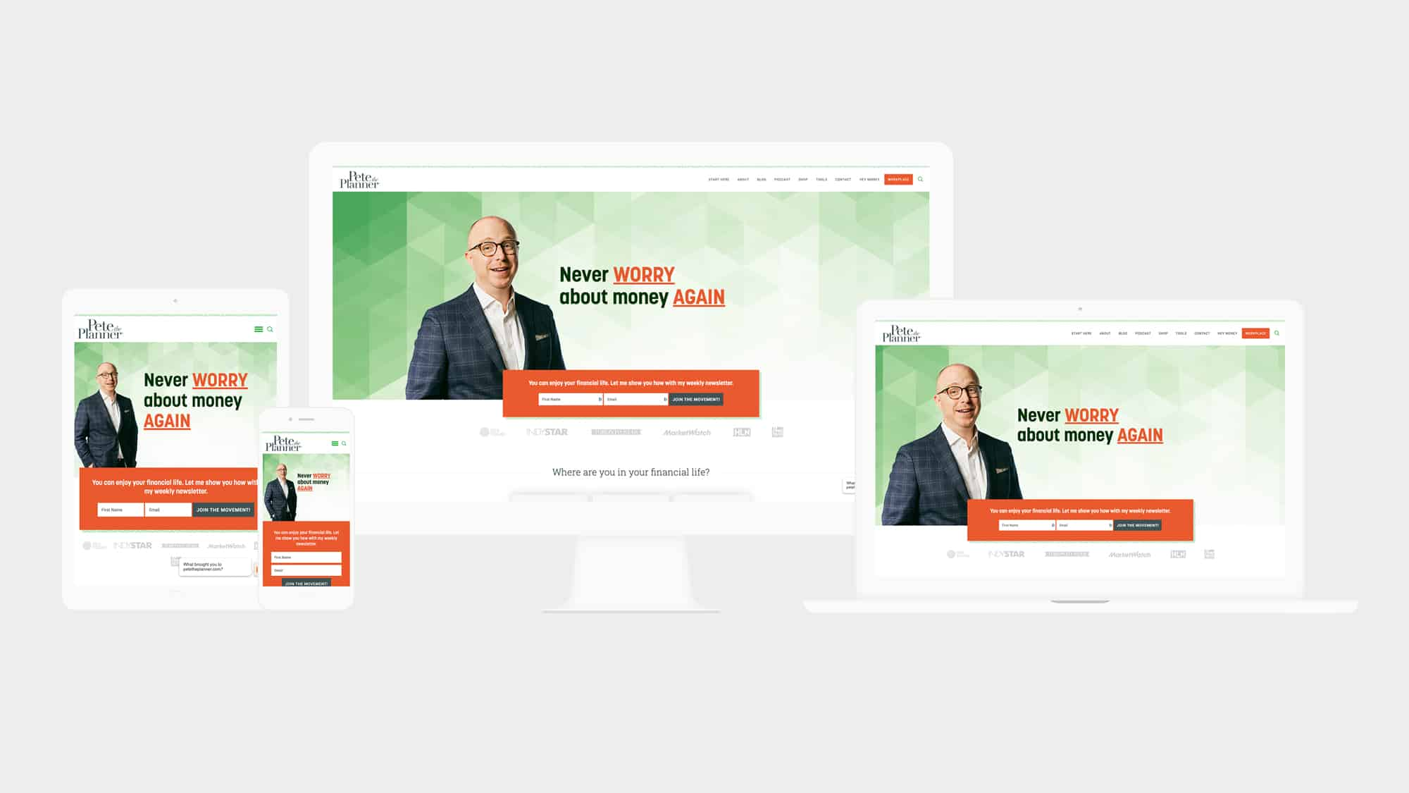 Pete the Planner responsive WordPress website