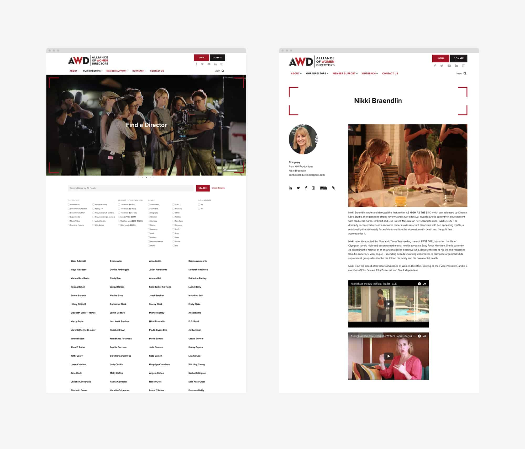 mockups of web pages