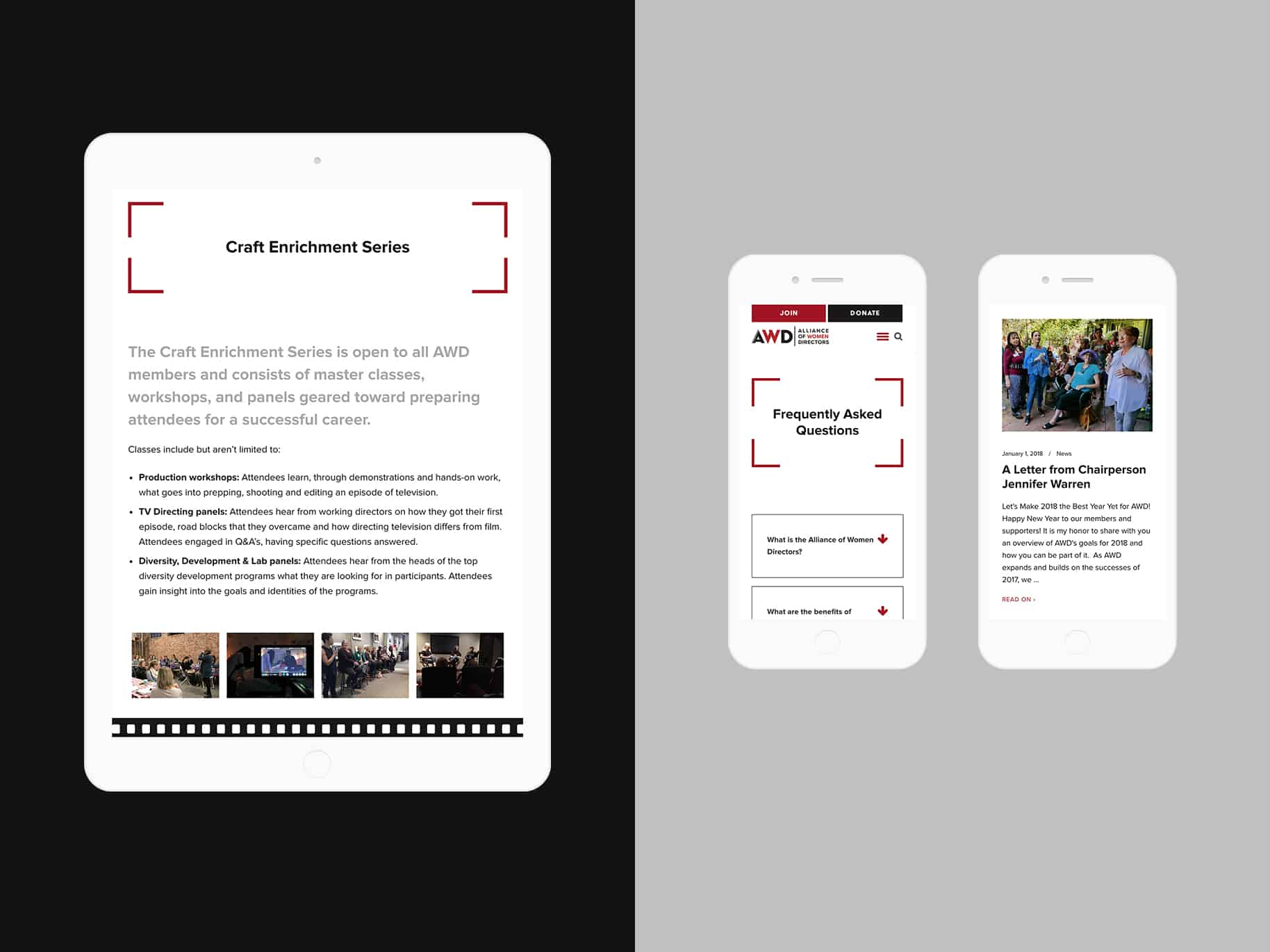 screenshots of mobile web pages