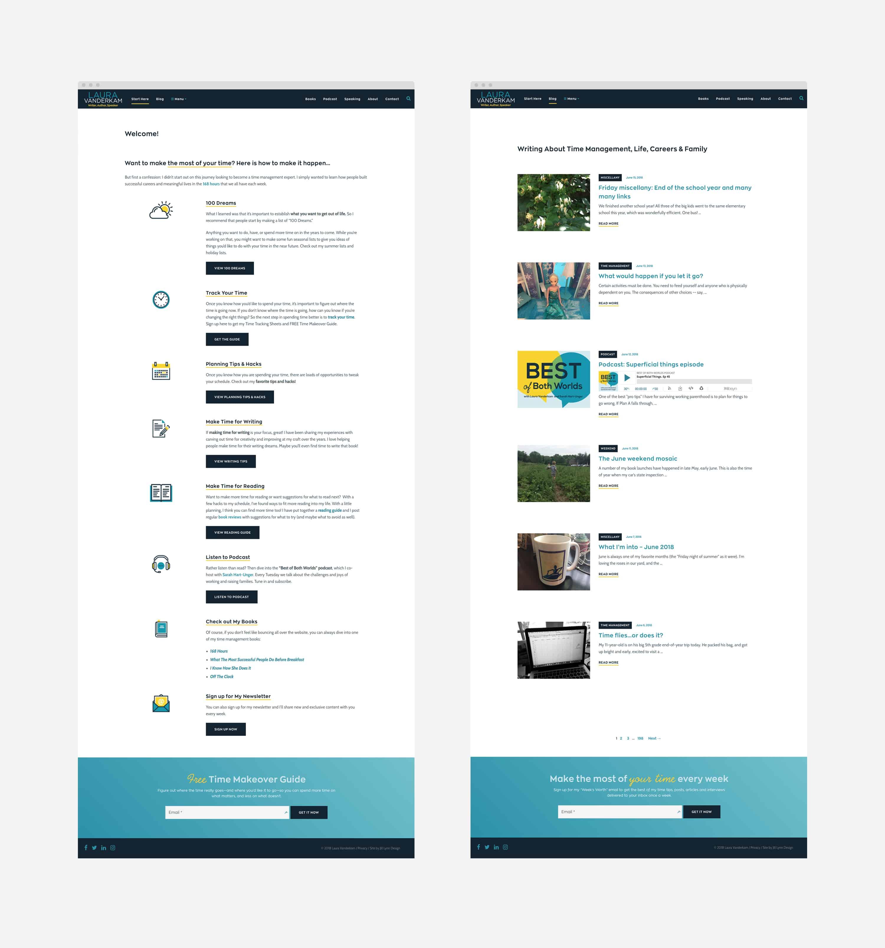 mockups of WordPress web pages