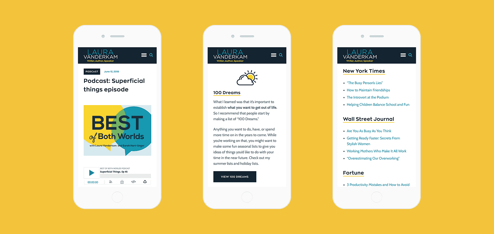 screenshots of mobile web design