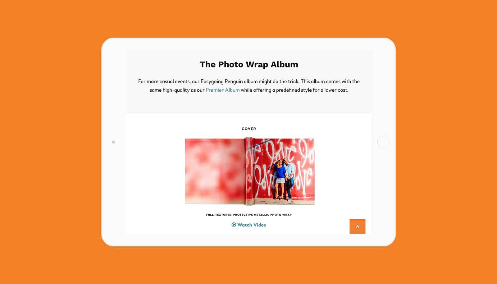 ipad screenshot of website design