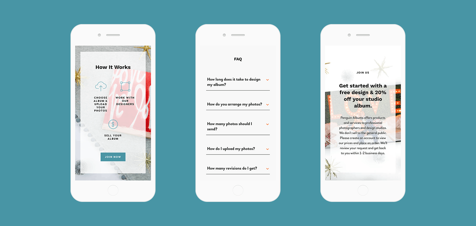 mobile screenshots of website design