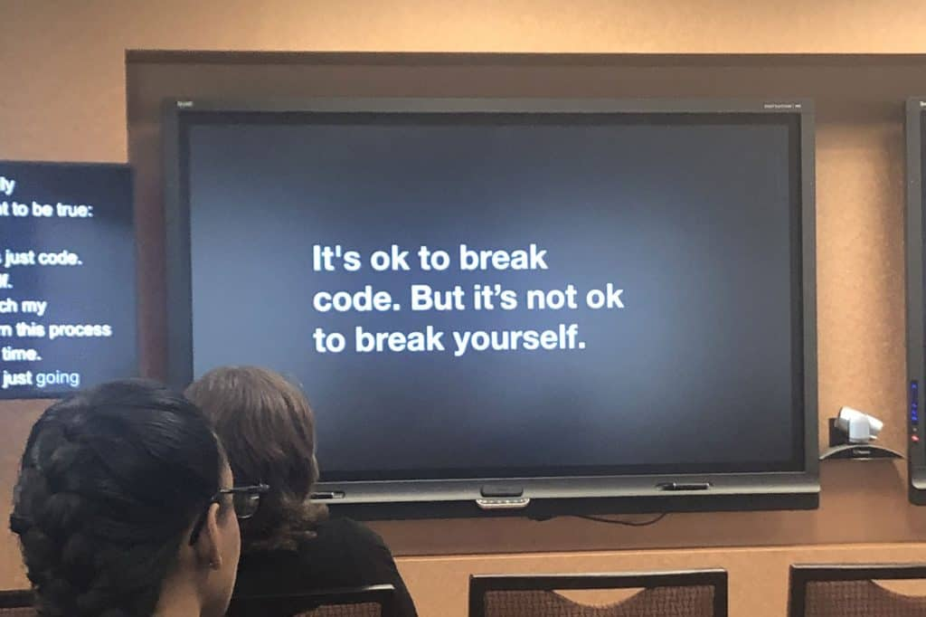 It's ok to break code. But it's not ok to break yourself.