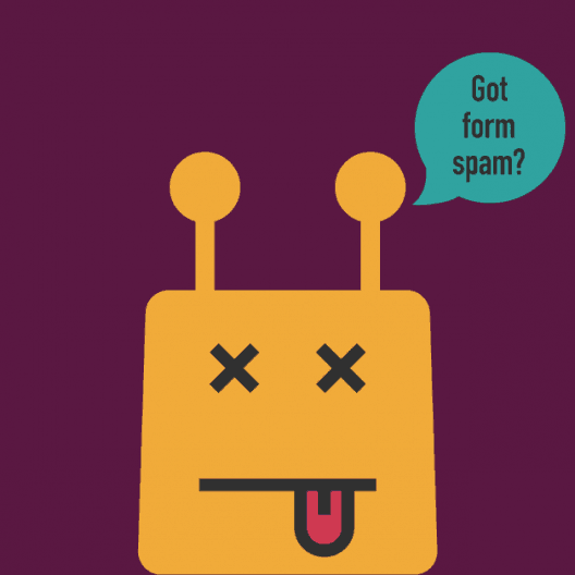 Bot with speech bubble saying Got form spam?