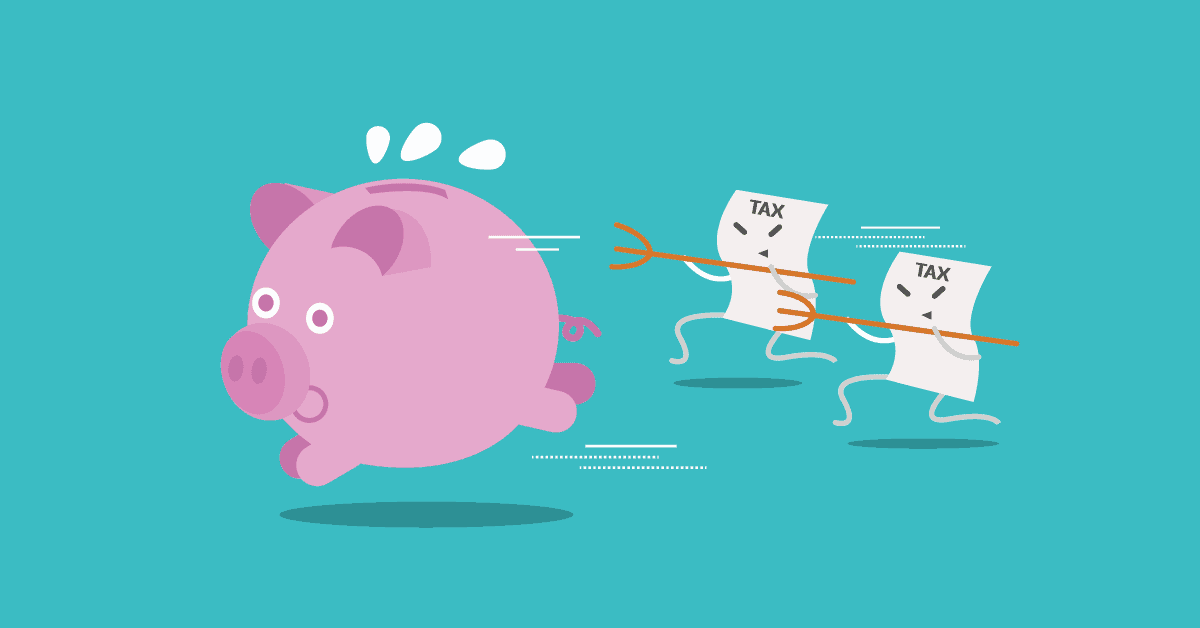 piggy bank being chased by tax documents with pitchforks